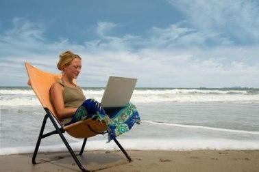 read on beach